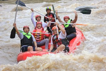 Tubing down the Elo River of Central Java